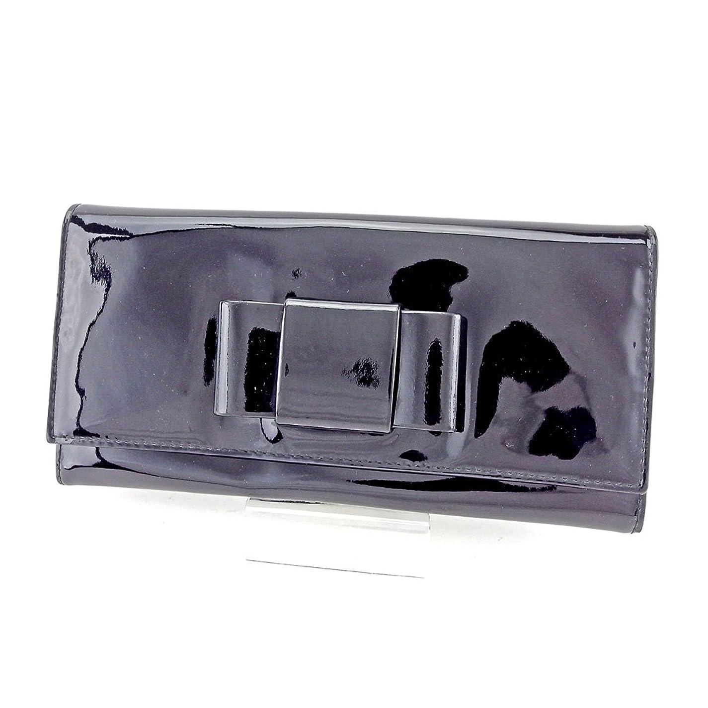 自動急速な(ミュウミュウ) Miu Miu 長財布 財布 ファスナー付き ブラック×ピンク×ゴールド リボンモチーフ レディース 中古 T4157