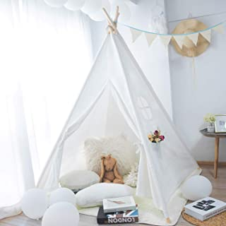 MoonFly Teepee Tent for Kids, Classic Cute Children Playing House Indoor Tents for Girl Boy Nursery Decor (Pure White Cotton)