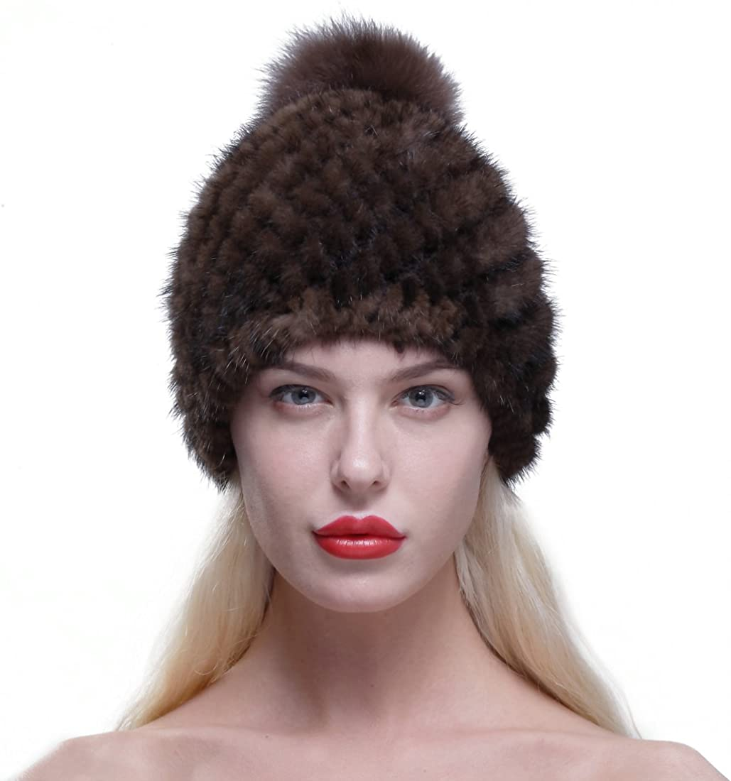 URSFUR Women Winter Spring new work one after another Hat Knit Mink Fur Popularity Pom with Fox Beanie Cap Po