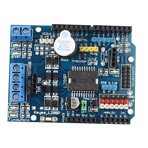 HALJIA L298P Motor Driver Module H-bridge Drive Shield Expansion Board High-Power DC Stepper Motor Controller Compatible with Arduino