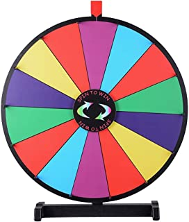 "WinSpin 24"" Tabletop Spinning Prize Wheel 14 Slots with Color Dry Erase Trade Show Fortune Spin Game"