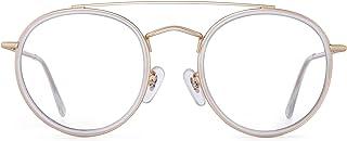 GLINDAR Small Round Blue Light Blocking Glasses for Women Vintage Double Bridge Computer Glasses Gold3