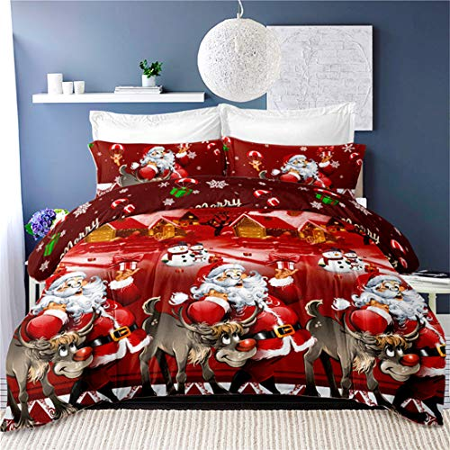 3D Christmas Bedding Duvet Cover Sets King Size Santa Claus Reindeer Bedding,3Pcs Snowflake Quilt Cover Kids Cartoon New Year Decoration Pillowcase