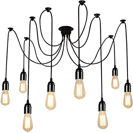 UFLIZOGH Lustres Araignée Suspension Luminaire Induistrielle 8 E27 Edison Lampe Abat-jour Réglable DIY Rétro Plafonnier pour Salle À Manger Chambre Hôtel Loft (non ampoules)