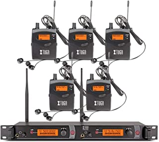 XTUGA RW2080 Rocket Audio Whole Metal Wireless in Ear Monitor System 2 Channel 5 Bodypacks Monitoring with in Earphone Wireless Type Used for Stage or Studio (Frequency 902-928mhz)
