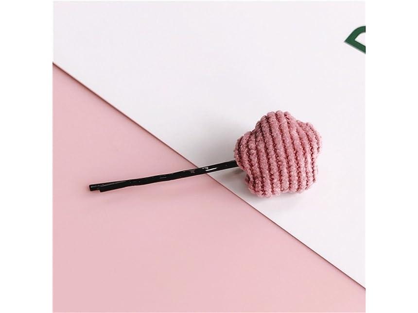 革命動揺させる偶然のOsize 美しいスタイル ペンタグラムフラワーラブシェイプストライプヘアクリップワンワードクリップヘアアクセサリー(ピンク五芒星)