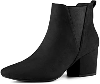 Womens Suede Ankle Chelsea Boots Low Mid Block Hees Zip Booties Shoes Size 5-8.5
