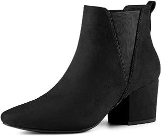 Allegra K Women's Pointed Toe Block Heel Ankle Chelsea Boots