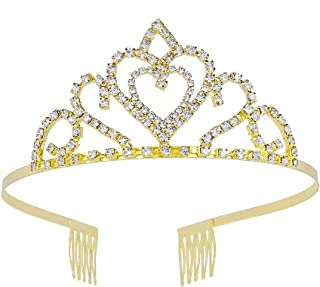 Wedding Tiara Rhinestones Crystal Bridal Heart Design Headband Pageant Princess Crown