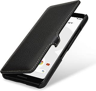 StilGut Google Pixel3 Case. Flip Case for Google Pixel 3 Made of Genuine Leather, Black with Clasp