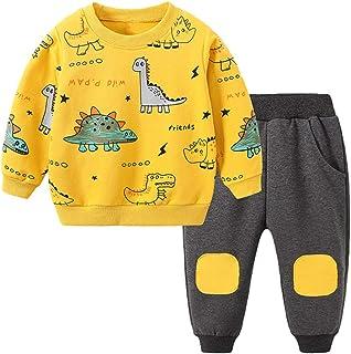 Conjunto de camisetas de dinosaurio de dibujos animados y pantalones de parche para niños