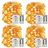 Sanniu Fairy Lights, 4 Packs Fairy String Lights Battery Operated Waterproof Copper Wire Remote Control Led...