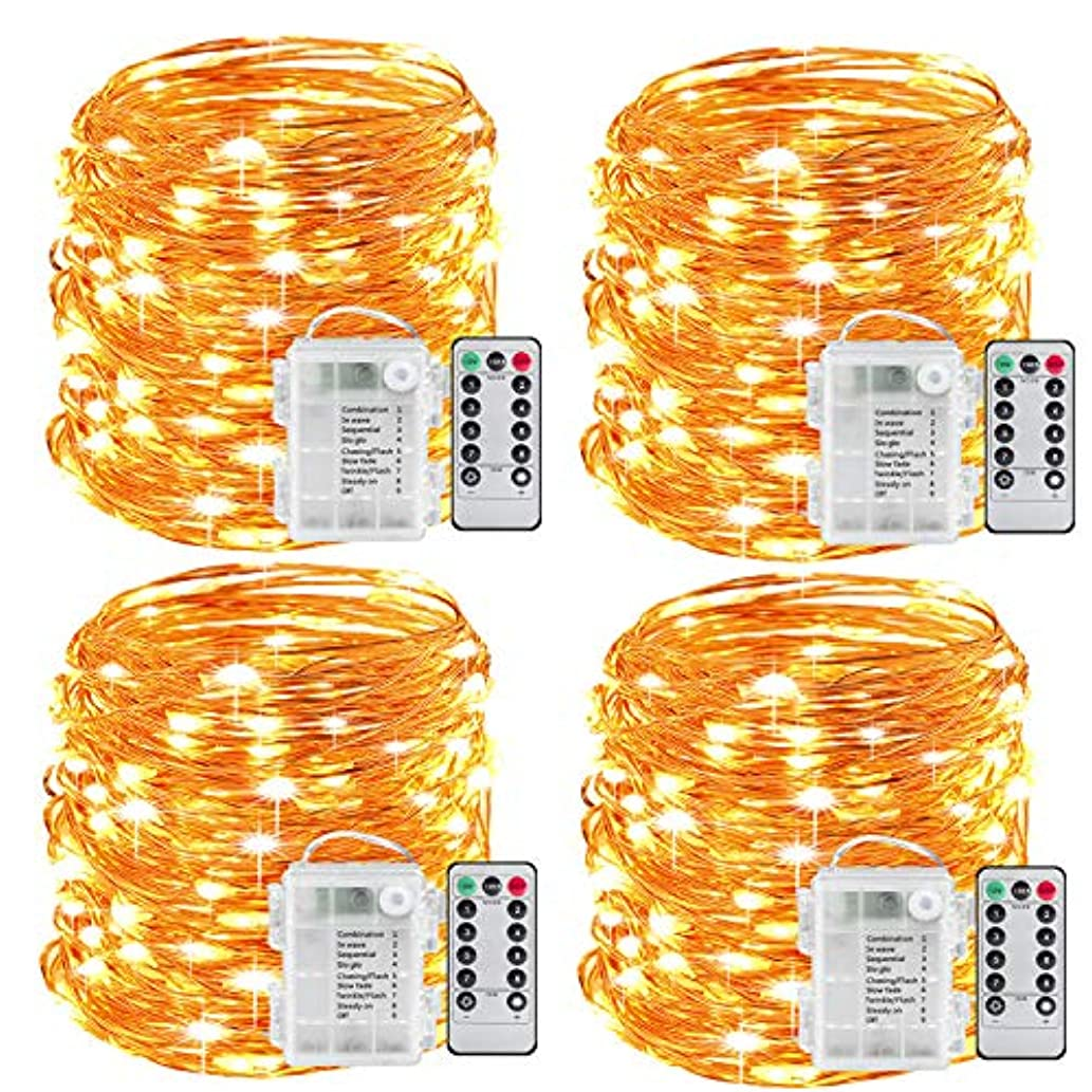 Sanniu Fairy Lights, 4 Packs Fairy String Lights Battery Operated Waterproof Copper Wire Remote Control Led Fairy Lights 16.4 ft. Firefly Lights Christmas Lights 8 Modes (Warm White)