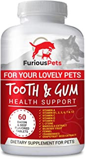 FuriousPets Tooth and Gum Supplement - Daily Pet Vitamins for Total Teeth & Gum Health Support for Dogs and Cats - 60 Tablets (Crush and Feed it with Their Foods)