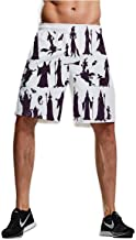 Waterfall in deep Forest,Comfortable Shorts for Mens Athletic Where There is an Abundance of Nature. M