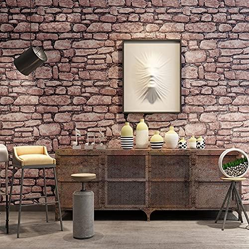 SDKFJ CLORURO DE POLIVINILO Material Impermeable Retro 3D Piedras Patrón de ladrillo Papel de Pared, Restaurante Tienda de Ropa Barber Shop Wall Decoration Wallpaper