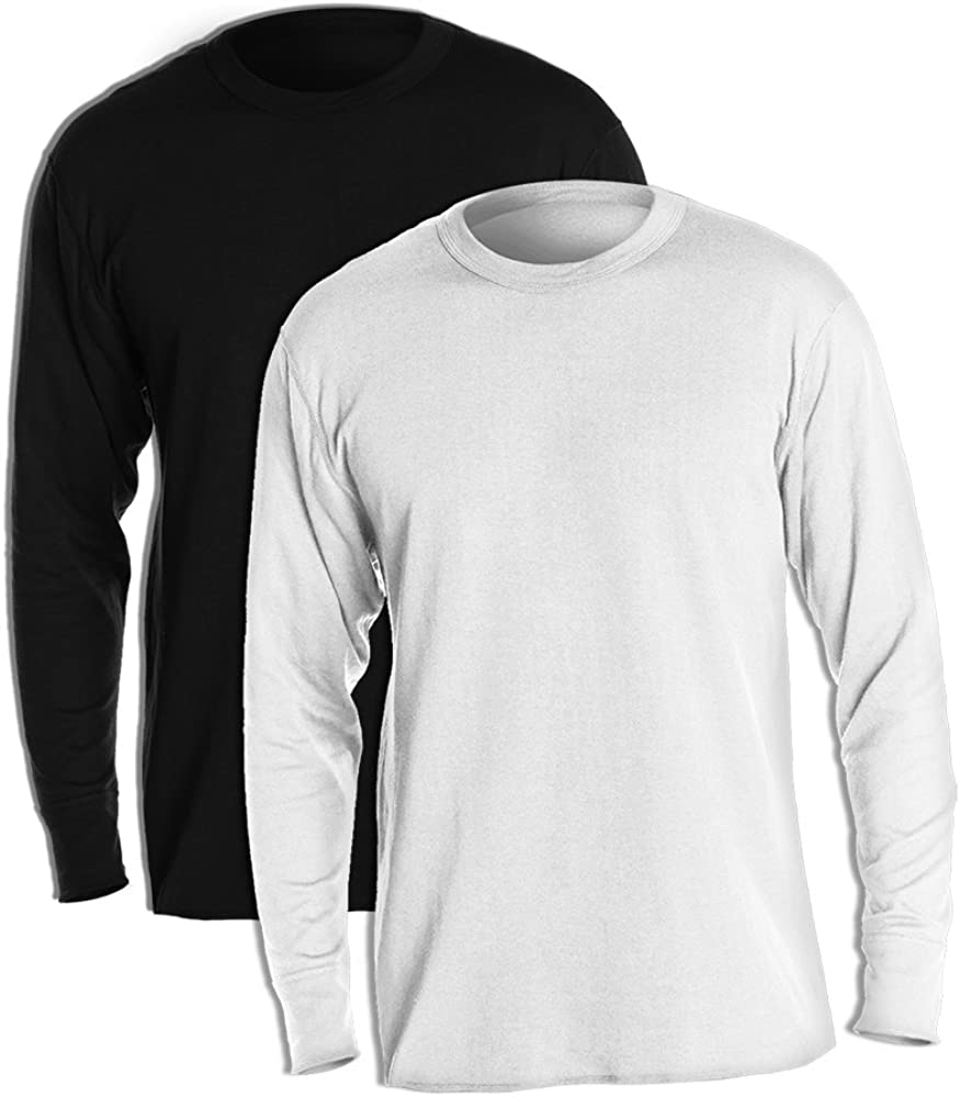 Duofold KMW1 60% Cotton 40% Polyester Men's Mid Weight Wicking Crew Neck Top 1 Black + 1 Winter White