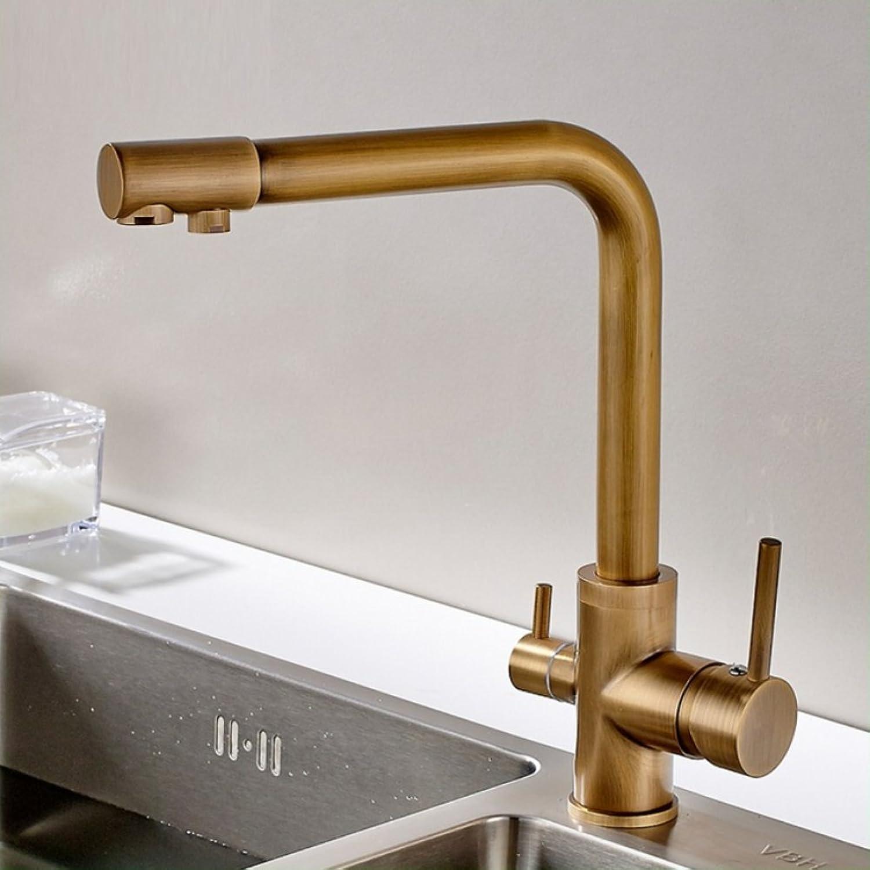 LD&P Spülbecken Wasserhhne, alle Bronze Antik Kupfer Dual Verwendung Reines Wasser Doppelhhne, Kopf Küche Wasserhahn Spüle Spüle Hei und kalt Mischhhne