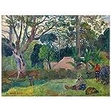 Legendarte Cuadro Lienzo, Impresión Digital - El Gran Árbol (Te Raau Rahi) Paul Gauguin, cm. 60x80 - Decoración Pared
