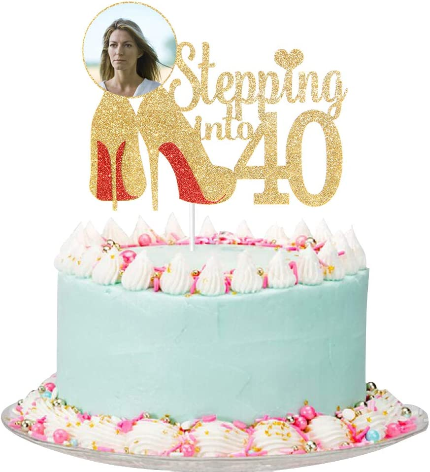Gold Glitter Stepping into 40 Cake - 40th New Now on sale product Topper Women Birthday