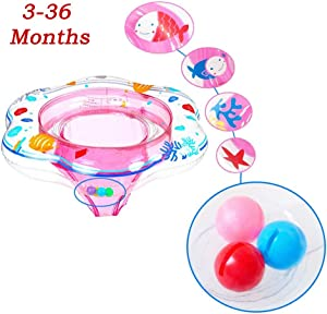 JCREN Baby Pool Float, Baby Boat with Activity Centers Inflatable Pool Float,Baby Bath Safety Seat Double Airbag Swim Rings for Babies Kids Swimming Float PVC Pool Floats for Toddlers of 3-36(Pink)