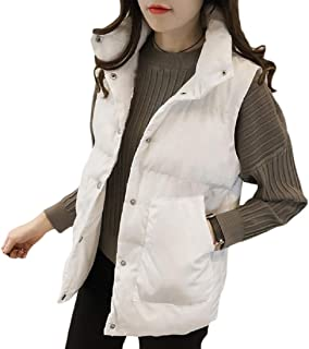 Womens Pocket Stand Collar Quilted Outdoor Puffer Vest Jacket Coat with Pocket