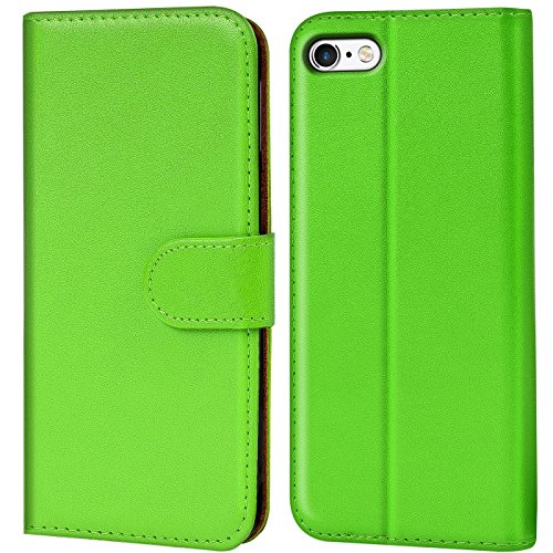 Verco Custodia per Apple iPhone 5 5S SE, Case per iPhone SE Cover PU Pelle Portafoglio Protettiva, Verde