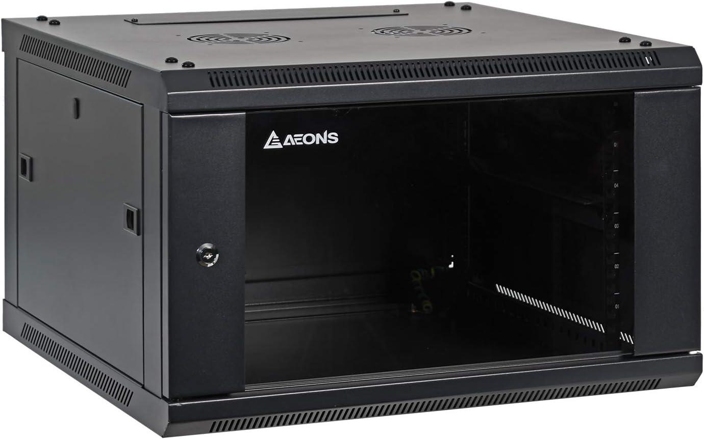 Aeons 6U Signature Wall Mount 19-inch IT Network Cabinet Enclosure Server Rack 22-inch Depth Glass Door