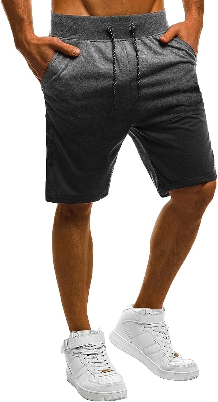 TingM Mens Summer Casual Shorts with Pockets Elasticated Waist Sports Shorts Loose fit Half Gym Shorts