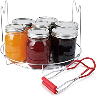 SOOTOP Canning Rack Jar Lifter Set - Professional Stainless Steel Canning Tongs with Secure Grip and Anti-Slip Handle, Wid...