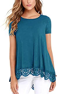 ELF QUEEN Women's Scoop Neck A-Line Lace Trim Blouse Soft Summer Shirts Casual Short Sleeve Gradient Tunic Tops