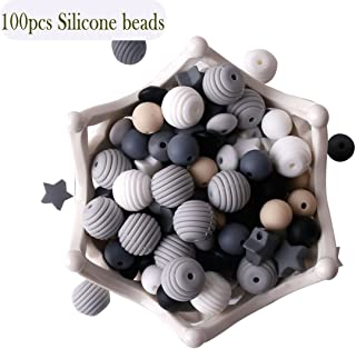 let`s make Baby Silicone Teether Beads 100pcs Teething Beads Black and White Series DIY Jewelry Chewable Nursing Necklace Accessories