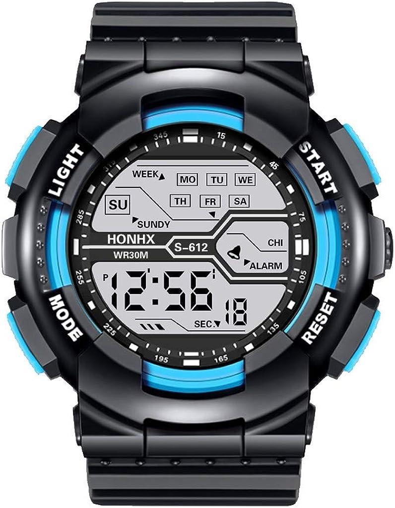 Moda Relojes Hombre Elegante Vestir, Impermeable Hombre Boy LCD Digital CronóMetro Fecha Reloj De Pulsera Deportivo De Goma Regalos para Hombres