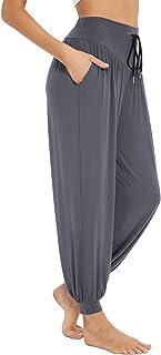 Sykooria Pantalones Deportivos para Mujer de Algodón Pantalones de Yoga con Bolsillos Pantalón de Harem Cintura Alta Pilat...