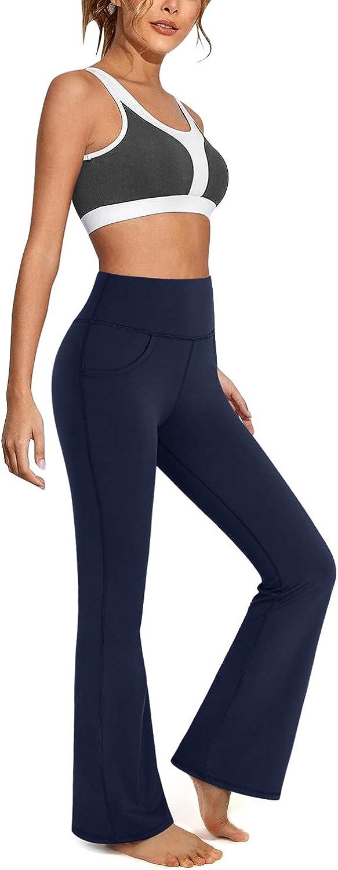 Promover Pantalones de Yoga Bootcut con Bolsillos para Mujer Pantalones de Trabajo de Entrenamiento de Cintura Alta Bootleg Control de Barriga para Trabajo y Casual