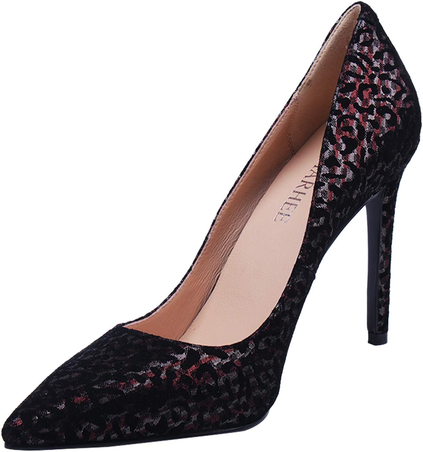 Marhee Black Pumps for Women Red Silver High Heels Sexy Pumps for Party Work Office