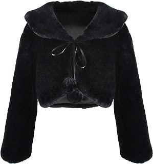 Abbyabbie.Li Flower Girl Dress Coat,Girl Cozy Faux Fur Bolero Shrug Accessories Princess Cape