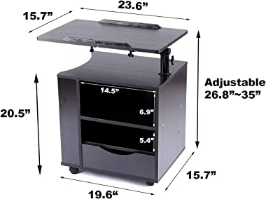 SIDUCAL Functional Bedside Table Adjustable & Swiel Wooden Nightstand with Drawers, Rolling Laptop Desk Computer Table, B