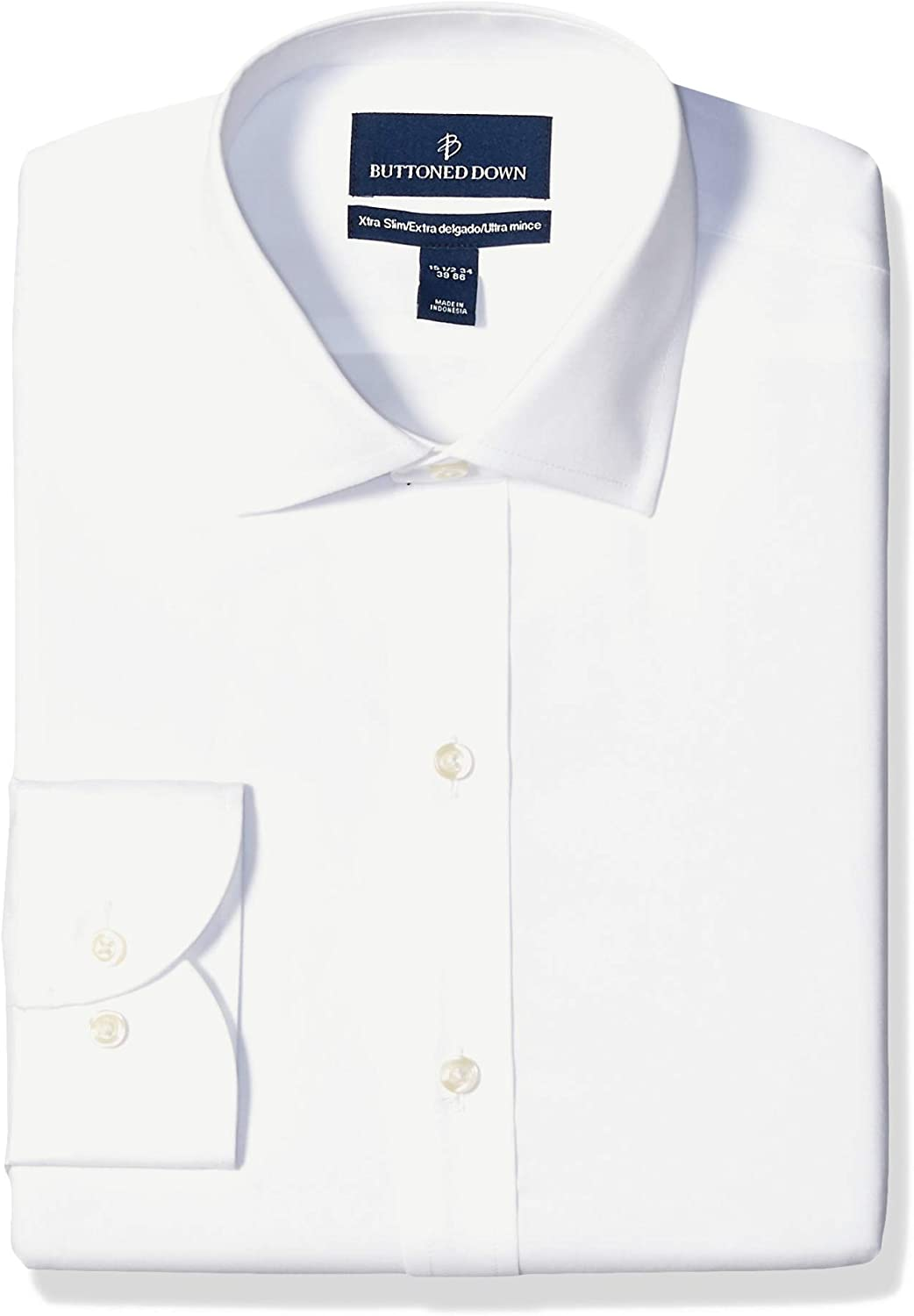 Marchio Buttoned Down Xtra-Slim Fit Solid Non-Iron Dress Shirt Uomo