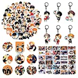 Haikyuu - Juego de pegatinas para cosplay para fans de anime Haikyuu Merchandising 6 llaveros 8 botones 30 tarjetas Haikyuu Lomo 50 pegatinas Haikyuu 1 anillo de teléfono