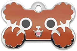 Pet Identification Tag [Personalized Free Custom Engraved] Dog and Cat Collar ID Tags | Poodle Animal Bone Tags, 25.4mm X 38.10mm (Large)