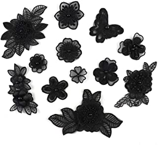 XUNHUI Black 3D Floral Embroidery Applique Beaded Pearl Tulle DIY Wedding Dress Sewing Clothing Applique Lace Costumes Decoration Patch 1Set/12Pieces