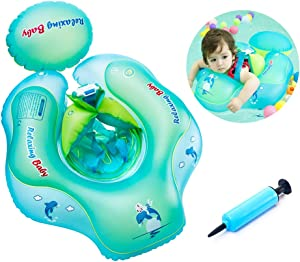Baby Floaties for Infants, Inflatable Swimming Float Ring with Bottom Support and Swim Buoy Floats for Kids Toy Pond, Swimming Pool, Bathtub and Seaside for the Age of 6 months - 30 Months Old Infant