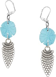 Sand Dollar Sea Glass Chain Maille Dangle Earrings by Cape Cod Jewelry-CCJ