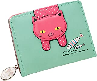 Girls Wallet Cute Cat Wallet Cat Pattern Purse Coin Holder Card Organizer(Green)