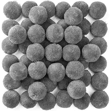 RUBY - 50 Pompons pour Artisanat, décoratifs et Loisirs Fournitures Diamètre 30 mm (Gris)
