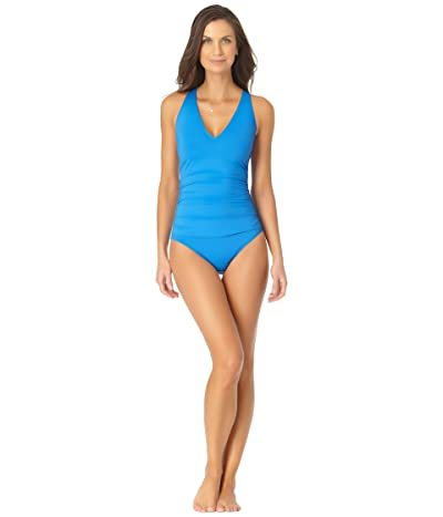 Anne Cole Live in Color V-Neck Cross-Back Shirred One-Piece