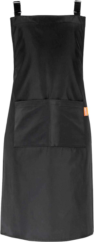 MONDZUCKER Delantal impermeable con 2 bolsillos grandes, delantal de cocina con correas ajustables para el hombro, color negro