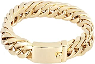 "Real Gold Bracelet Men's | 14 mm Thick Diamond Cut Cuban Link | 2X More Pure 24k Gold Plating Than Other Chains for Men - The Look & Feel of Pure Solid Gold - 8"" & 9 inch USA Made!"