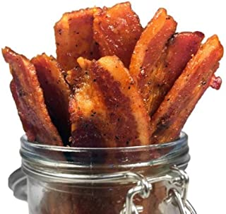 Delicious Uncured Real Bacon Jerky Hand Crafted Small Batch Kickin' Sriracha MSG Free Nitrate & Nitrite Fre...